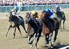 "Rock Fall (left) gets in front of The Big Beast in the Vanderbilt. <br><a target=""blank"" href=""http://photos.bloodhorse.com/AtTheRaces-1/At-the-Races-2015/i-FHCP3dD"">Order This Photo</a>"