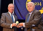 Stuart Janney III presenting Ogden Mills 'Dinny' Phipps with The Jockey Club Medal in August 2015