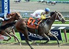 "Unbridled Forever flies home to take the Ballerina Stakes.<br><a target=""blank"" href=""http://photos.bloodhorse.com/AtTheRaces-1/At-the-Races-2015/i-dwsRJmN"">Order This Photo</a>"