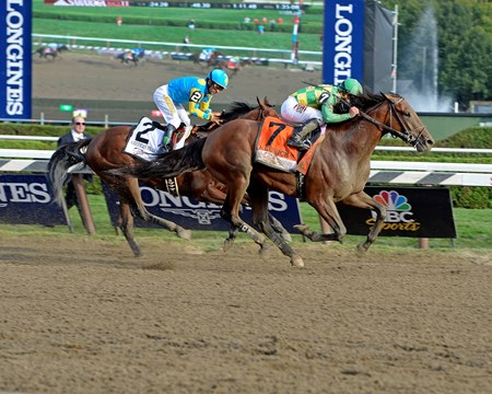Caption: Keen Ice with Javier Castellano wins the Travers (gr. I) at Saratoga on Travers Day, Aug. 29, 2015.