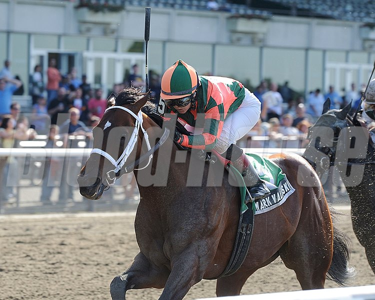 Mark Valeski flies home in the 2012 Peter Pan Stakes (gr. 2) at Belmont Park.