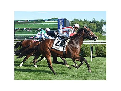 "Takeover Target winning Saratoga's Hall of Fame Stakes.<br><a target=""blank"" href=""http://photos.bloodhorse.com/AtTheRaces-1/At-the-Races-2015/i-F6NRjbm"">Order This Photo</a>"