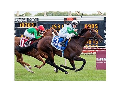 Andrasch Starke celebrates the American St. Leger victory with Lucky Speed.