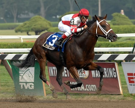 Hard Spun is victorious in the 2007 King's Bishop Stakes (gr. 1) at Saratoga.