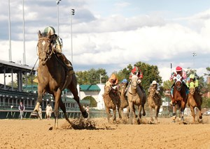 Frivolous takes the Locust Grove Handicap at Churchill Downs.