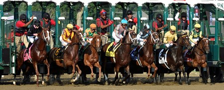 The starting gate breaks open for the 99th running of the Coaching Club American Oaks at the Saratoga Race Course Sunday afternoon July 26, 2015 in Saratoga Springs, N.Y.