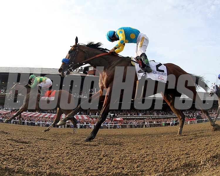 Keen Ice (#7) with Javier Castellano win the Travers at Saratoga on August 29, 2015 over American Pharoah (#2) with Victor Espinoza. Photo By: Chad B. Harmon