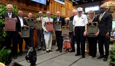 The new members line up during the National Museum and Hall of Fame inductions held at the Fasig Tipton sales pavilion Aug 7, 2015 in Saratoga Springs, N.Y.
