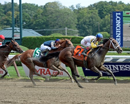 Unbridled Forever with John Velazquez wins the Ballerina (gr. I) at Saratoga on Travers Day, Aug. 29, 2015, at Saratoga in Saratoga Springs, N.Y.