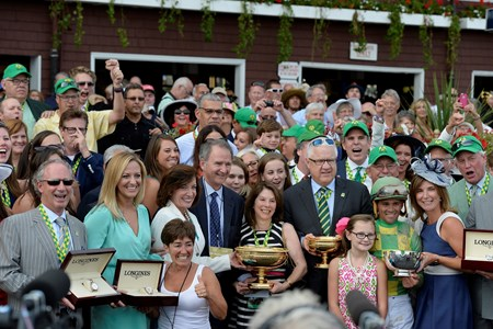 Donegal Racing parters enjoying the Travers Stakes win presentation.