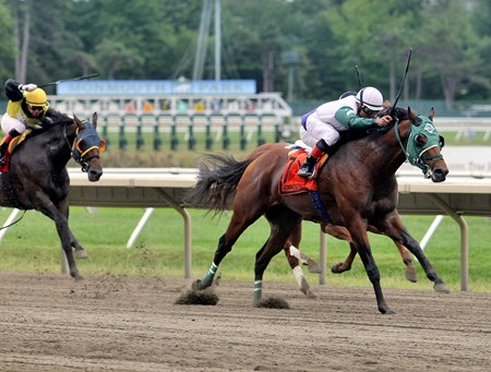 Chubble Maker #7 with Vicente Gudiel riding won the $60,000 New Jersey Breeders Handicap at Monmouth Park.