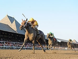 Cavorting wins the Prioress Stakes at Saratoga.