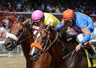 "Royal Posse (left) outfinishes Saratoga Snacks to win the Evan Shipman.<br><a target=""blank"" href=""http://photos.bloodhorse.com/AtTheRaces-1/At-the-Races-2015/i-js7WqRw"">Order This Photo</a>"
