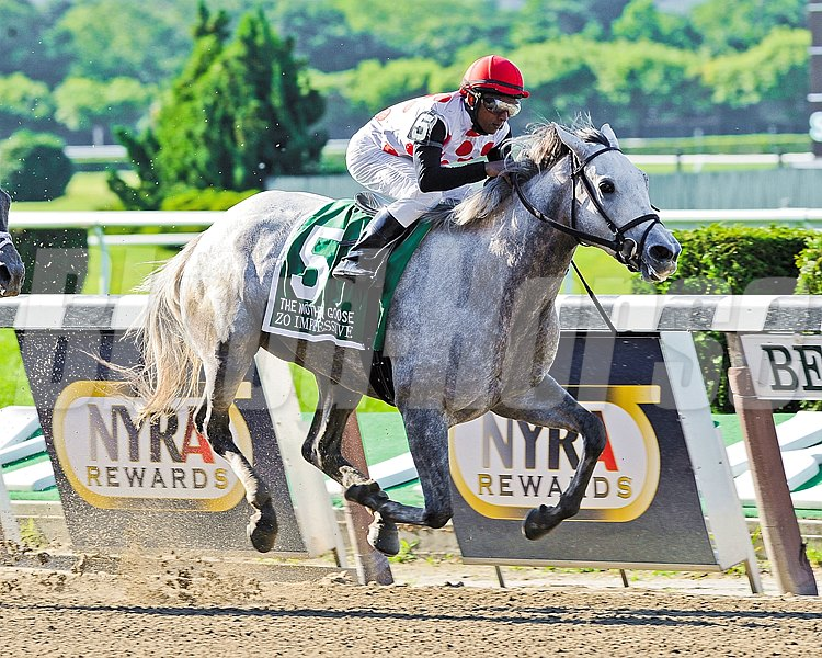 Zo Impressive takes the 2012 Mother Goose Stakes (gr. 1) at Belmont Park.