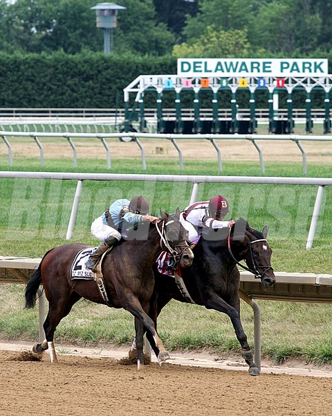 Royal Delta w/Mike Smith up beat Tiz Miz Sue w/Joseph Rocco Jr. up to win the 75th Running of The Delaware Handicap at Delaware Park on July 21, 2012.