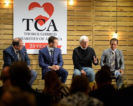 Caption: Team American Pharaoh talking American Pharaoh at TCA panel at Fasig-Tipton near Lexington on Oct. 27, 2015.