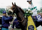 Soaring Softly after winning the 1999 Breeders' Cup Filly & Mare Turf.