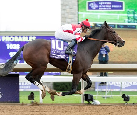 Fox Hill Farms' Songbird delivered a beautiful performance Oct. 31 in the $2 million 14 Hands Winery Breeders' Cup Juvenile Fillies (gr. I) at Keeneland, controlling the pace throughout and drawing off to win by 5 3/4 lengths over fellow grade I winner Rachel's Valentina.