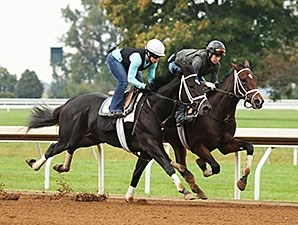 Azar (outside) and Thrilled (inside) - Keeneland, October 9, 2015.