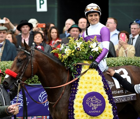 Jockey Mario Gutierrez and Nyquist smile for the camera.