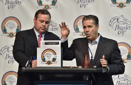 (October 26, 2015) UK  basketball coach John Calipari (R) helping Keeneland racing secretary Ben Huffman during the draw for the Breeders' Cup Classic...