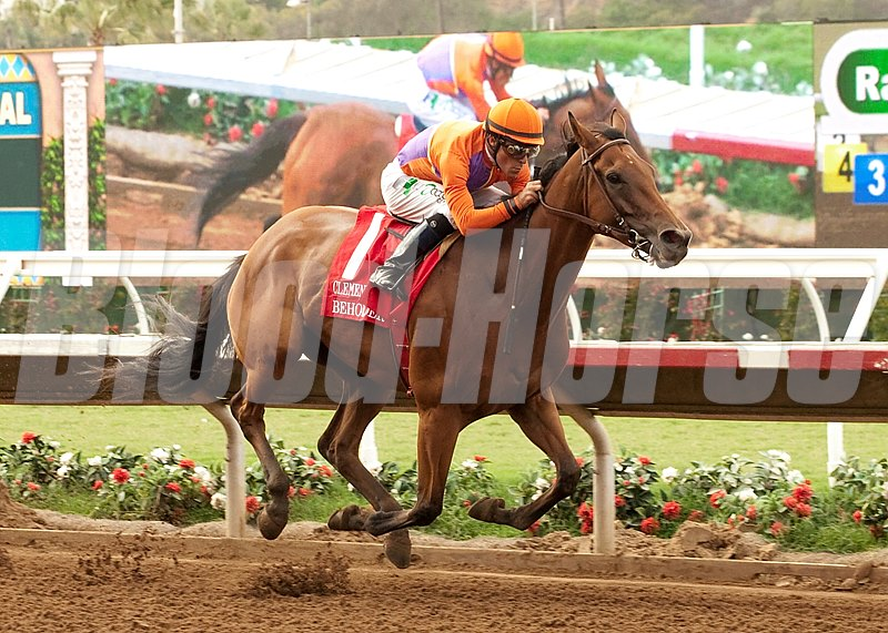 Spendthrift Farm's Beholder and jockey Gary Stevens win the Grade I, $300,000 Clement L. Hirsch Stakes, Saturday, August 1, 2015 at Del Mar Thoroughbred Club, Del Mar CA.
