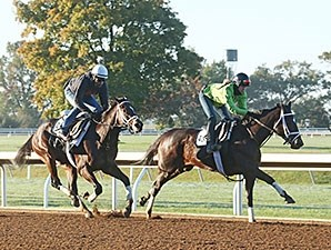 Stopchargingmaria (front) Uncle Vinny (back) - Keeneland, October 17, 2015