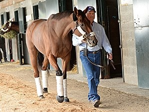 Beholder and Richard Mandella arrive at Keeneland Oct. 19.
