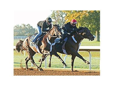 Bradester (inside) worked five-eighths of a mile in company in :58 3/5 Oct. 17.
