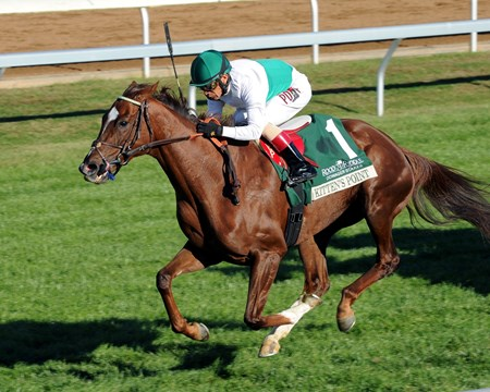 Augustin Stable's Kitten's Point found plenty of room along the rail in the stretch to rally past a determined Ceisteach and win the $125,000 Rood & Riddle Dowager Stakes (gr. IIIT)  at Keeneland.
