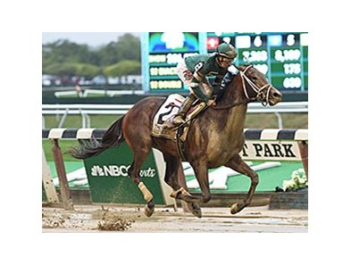"Greenpointcrusader comes running late to win the Champagne Stakes.<br><a target=""blank"" href=""http://photos.bloodhorse.com/AtTheRaces-1/At-the-Races-2015/i-Z97sxdp"">Order This Photo</a>"