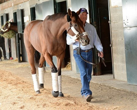 Beholder, with trainer Richard Mandella, arrives at Keeneland Oct. 19, 2015.