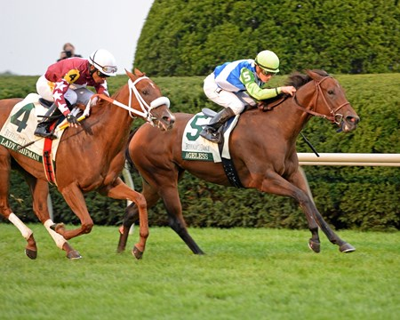 Lael Stables' Ageless took down favored Lady Shipman with a late charge in the $100,000 Buffalo Trace Franklin County Stakes at Keeneland.