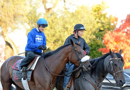 Caption: Julien Leparoux on Salama with Amy LoPresti on pony.
