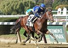 "Annual Report shakes free from King Kranz to win the Futurity Stakes<br><a target=""blank"" href=""http://photos.bloodhorse.com/AtTheRaces-1/At-the-Races-2015/i-CZjzSC3"">Order This Photo</a>"