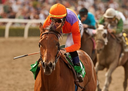 Spendthrift Farm's Beholder and jockey Garrett Gomez win the Grade I, $250,000 Las Virgenes Stakes, Saturday, March 2, 2013 at Santa Anita Park, Arcadia CA. © BENOIT PHOTO