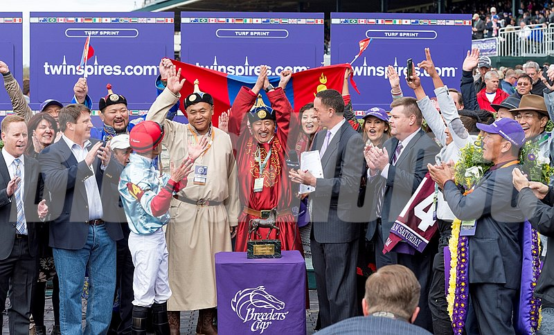 Party time in the Mongolian Saturday winner's circle.