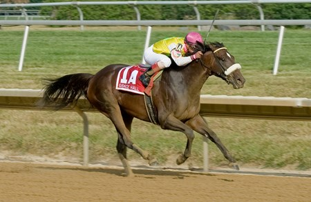 Grace Hall winning The Delaware Oaks (gr2) at Delaware Park  on 7/14/12