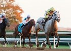"Bailoutbobby comes home strong to win the Marathon Stakes.<br><a target=""blank"" href=""http://photos.bloodhorse.com/AtTheRaces-1/At-the-Races-2015/i-gZWkFmb"">Order This Photo</a>"