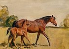 Sir Alfred James Munnings' signed painting Lord Astor's Broodmare and Foal brought the top price of $207,000.