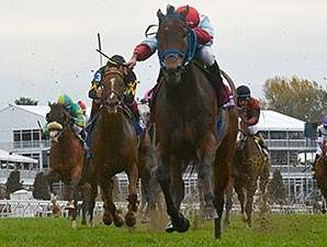Mongolian Saturday wins the 2015 Breeders' Cup Turf Sprint.