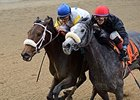 "Forever Unbridled (left) outfights Carrumba to win the Comely Stakes. <br><a target=""blank"" href=""http://photos.bloodhorse.com/AtTheRaces-1/At-the-Races-2015/i-w7pxFvf"">Order This Photo</a>"