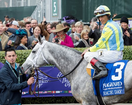 Race Day and jockey John Velazquez win the 58th Running of the Hagyard Fayette Stakes (GII) at Keeneland on October 30, 2015. 