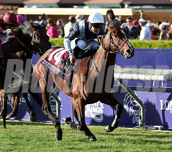 Karakontie and jockey Stephane Pasquier win the Breeders' Cup Mile at Santa Anita Park on November 1, 2014. Photo By: Skip Dickstein