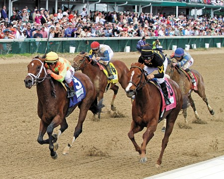 Bobby Flay's Dame Dorothy earned her first grade I victory May 2, 2015 and did so with distinction, running down game champion Judy the Beauty and surprisingly tough 18-1 pacesetter Moonlit Stroll in the $300,000 Humana Distaff Stakes (gr. I) at Churchill Downs.