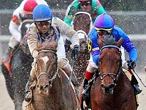 Synchrony, left, running against Discreetness, right, in the Smarty Jones Stakes.