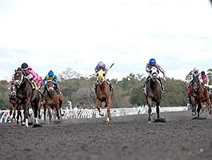 Whatawonderflworld pulls away from the pack in the OBS Championship Stakes.