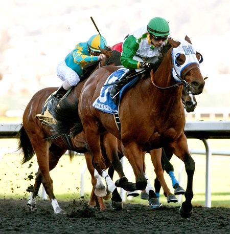 Outside Nashville with jockey Ricardo Gonzalez win the Lost in the Fog $50,000 Added with a time of 1:08.40. Trained by Jerry Hollendorfer.