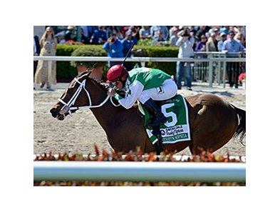 "Cathryn Sophia rolls to victory in the Davona Dale Stakes.<br><a target=""blank"" href=""http://photos.bloodhorse.com/AtTheRaces-1/At-the-Races-2016/i-LzG6Cdb"">Order This Photo</a>"