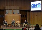 Panel discussion on stallion syndication at the Consignors and Commercial Breeders Association's educational symposium Feb. 2.